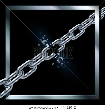 Metal broken chain.