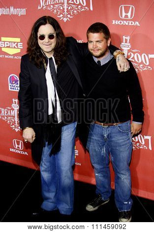 Jack Osbourne and Ozzy Osbourne at the 2007 Spike TV's Scream Fest held at the Greek Theater in Hollywood on October 19, 2007.