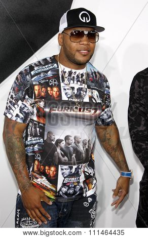 Flo Rida at the Los Angeles premiere of 'Furious 7' held at the TCL Chinese Theatre IMAX in Hollywood, USA on April 1, 2015.