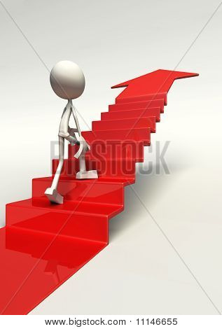 3D Character Walking Up Staircase
