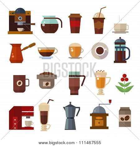 Coffee symbols set. cup vector icons