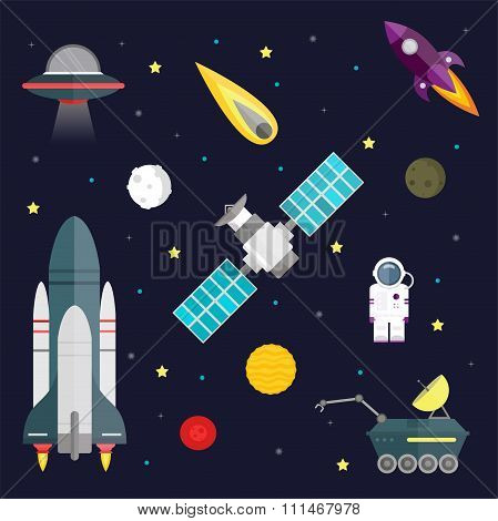 Space travel symbols infographic. Cosmos vector illustration