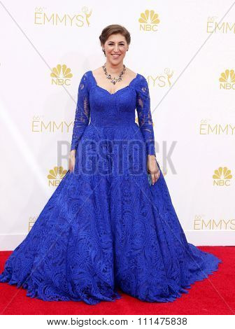 Mayim Bialik at the 66th Annual Primetime Emmy Awards held at the Nokia Theatre L.A. Live in Los Angeles on August 25, 2014 in Los Angeles, California.