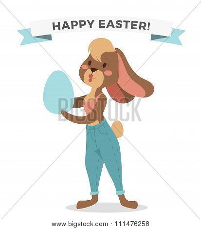 Greeting card Easter rabbit girl vector illustration