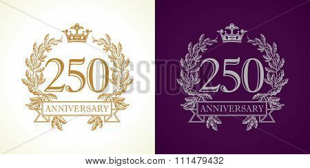250 years old luxurious logotype. Congratulating 250th numbers gold colored template framed in palms. Isolated greetings celebrates. Celebrating traditional two hundred fifty, 20th, 50th in branches. poster