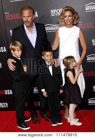 Kevin Costner, Christine Baumgartner, Grace Avery Costner, Hayes Logan Costner and Cayden Wyatt Costner at the LA premiere of 'McFarland, USA' held at the El Capitan in Hollywood on February 9, 2015.