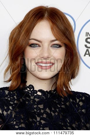 Emma Stone at the 2015 Film Independent Spirit Awards held at the Santa Monica Beach in Santa Monica on February 21, 2015.