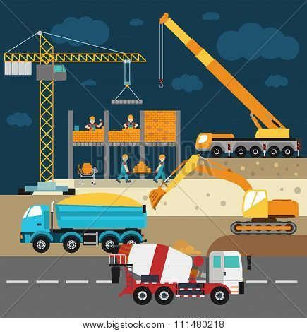 Building under construction, workers and construction technics vector illustration
