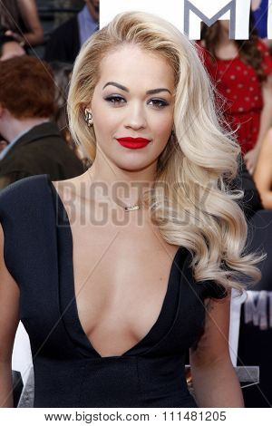 Rita Ora at the 2014 MTV Movie Awards held at the Nokia Theatre L.A. Live in Los Angeles on April 13, 2014 in Los Angeles, California.