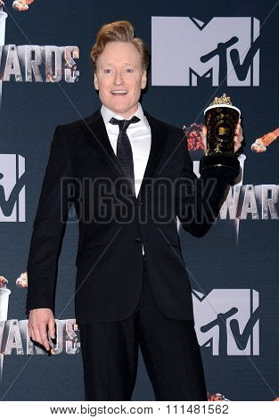 Conan O'Brien at the 2014 MTV Movie Awards - Press Room held at the Nokia Theatre L.A. Live in Los Angeles on April 13, 2014 in Los Angeles, California.