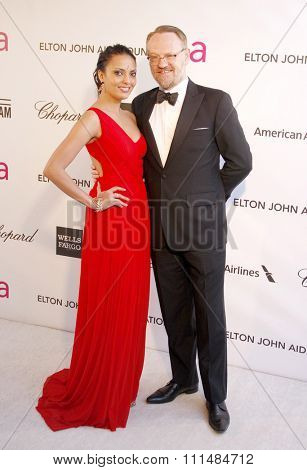 Allegra Riggio and Jared Harris at the 21st Annual Elton John AIDS Foundation Academy Awards Viewing Party held at the Pacific Design Center in West Hollywood on February 24, 2013.