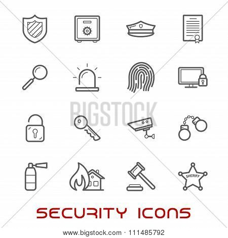 Security and protection thin line style icons
