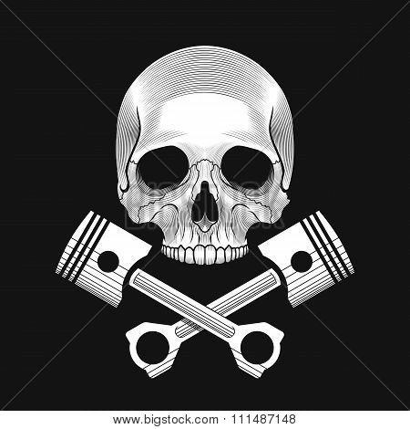 The skull and crossed car engine pistons