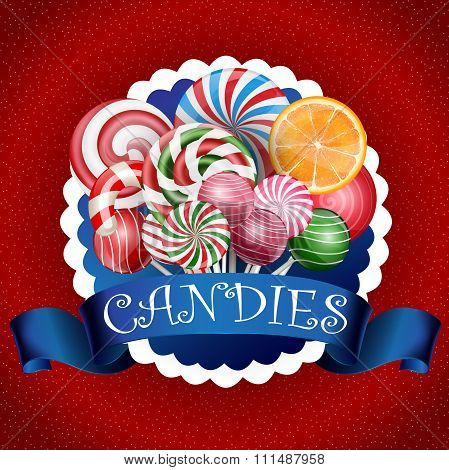 Colorful candy background with realistic blue ribbon