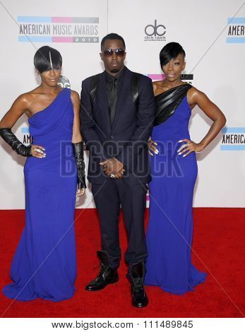 Sean 'Diddy' Combs and Dawn Richard and Kalenna Harper of Dirty Money at the 2010 American Music Awards held at the Nokia Theatre L.A. Live in Los Angeles on November 21, 2010.