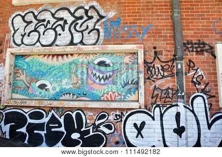 Brick Wall with Graffiti: Fremantle, Western Australia