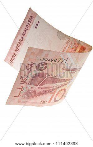 Rupee Malaysian Folded In Half. Isolated..