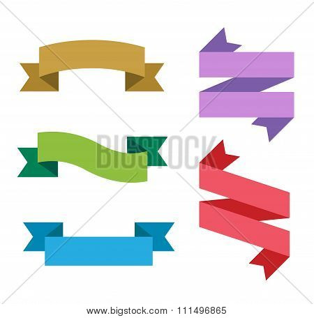 Collection of flat vector ribbon labels