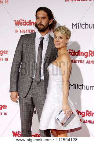 Ryan Sweeting and Kaley Cuoco-Sweeting at the Los Angeles premiere of 'The Wedding Ringer' held at the TCL Chinese Theater in Hollywood on January 6, 2015.