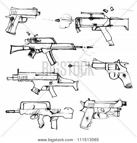 Set of hand drawn weapons isolated on white.