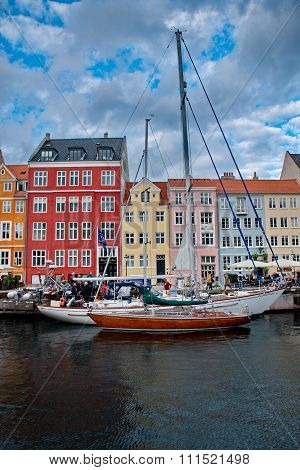 Port Of Nyhavn In Copenhagen, Danmark