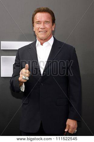 Arnold Schwarzenegger at the Los Angeles premiere of 'Terminator Genisys' held at the Dolby Theatre in Hollywood, USA on June 28, 2015.