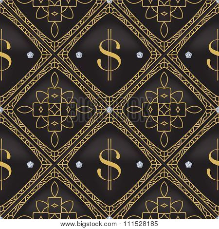 Dollar Quilted Seamless Vector Pattern