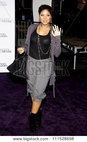 Toni Braxton at the Los Angeles premiere of 'Justin Bieber: Never Say Never' held at the Nokia Theatre L.A. Live in Los Angeles on February 8, 2011.