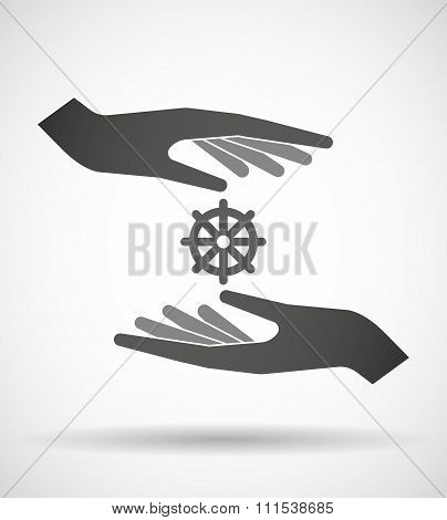 Two Hands Protecting Or Giving A Dharma Chakra Sign