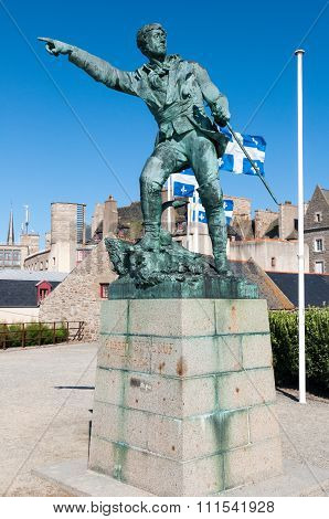 Robert Surcouf Famous French Corsair Statue In St Malo Brittany France