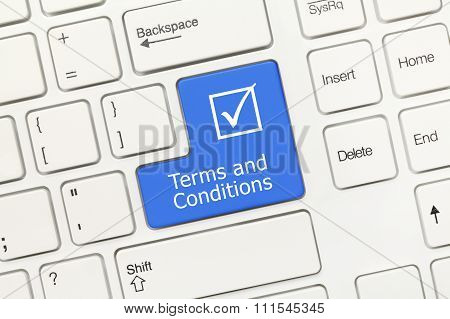 White Conceptual Keyboard - Terms And Conditions (blue Key)