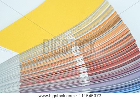 Color guide, palette of different colors on white background poster