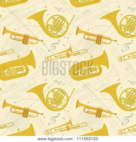 Music signs and instruments seamless pattern. Background