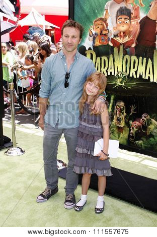 Breckin Meyer and daughter Keaton at the Los Angeles premiere of 'ParaNorman' held at the Universal CityWalk in Universal City, USA on August 5, 2012.