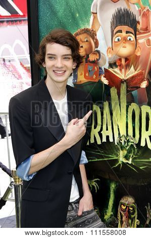 Kodi Smit-McPhee at the Los Angeles premiere of 'ParaNorman' held at the Universal CityWalk in Universal City, USA on August 5, 2012.