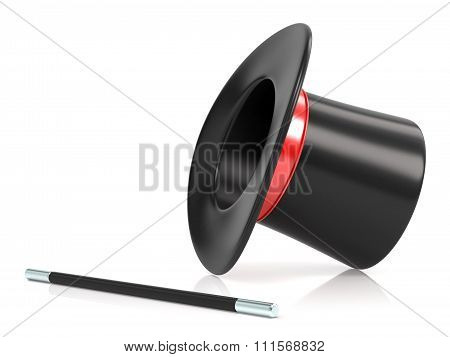 Magic wand and hat. 3D render illustration isolated on white background poster