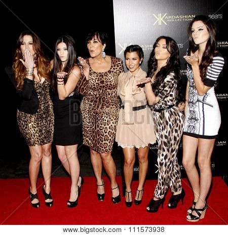 Khloe Kardashian, Kylie Jenner, Kris Jenner, Kourtney Kardashian, Kim Kardashian and Kendall Jenner at the Kardashian Kollection Launch Party in Hollywood, USA on August 17, 2011.
