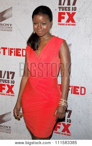 HOLLYWOOD, CA - JANUARY 10, 2012: Erica Tazel at the Season 3 premiere screening of 'Justified' held at the DGA Theater in Los Angeles, USA on January 10, 2012.