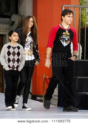 Prince Michael, Blanket and Paris Jackson at the Michael Jackson Hand And Footprint Ceremony held at the Grauman's Chinese Theater, California, United States on January 26, 2012.