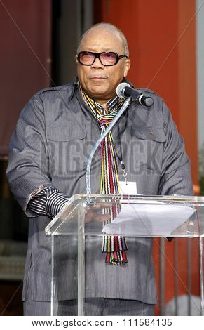 HOLLYWOOD, CA - JANUARY 26, 2012: Quincy Jones at the Michael Jackson Immortalized held at the Grauman's Chinese Theatre in Los Angeles.