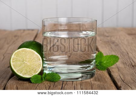 Glass Of Water With Lime And Mint