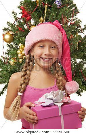 Happy Santa Girl Near The Christmas Tree ....