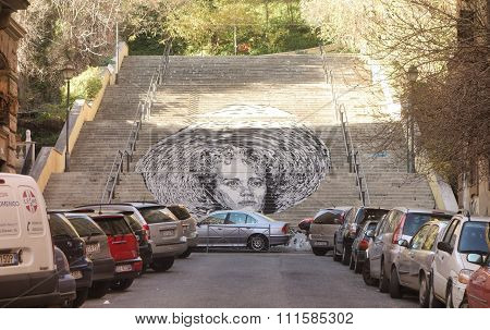 Giant Mural On Public Staircase In Rome