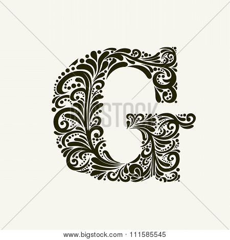 Elegant capital letter G in the style of the Baroque. To use monograms, logos, emblems and initials.