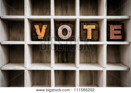 Vote Concept Wooden Letterpress Type In Drawer