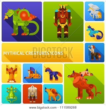 Mythical creatures icons set