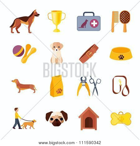 Dogs and accessories flat icons set