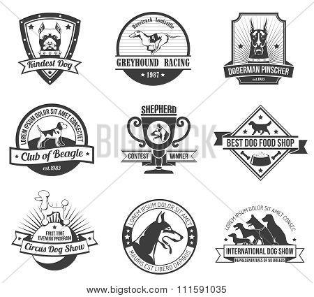 Dogs emblem set