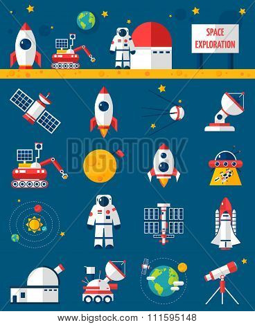Universe cosmos flat icons collection with rocket cosmonaut and planet rover space exploration vehicle abstract isolated vector illustration poster