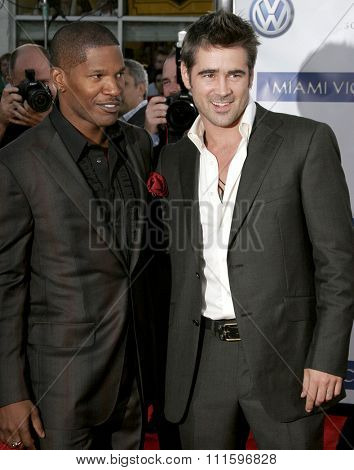 WESTWOOD, CALIFORNIA. July 20, 2006. Jamie Foxx and Colin Farrell at the World premiere of 'Miami Vice' held at the Mann's Village Theater in Westwood, California United States.